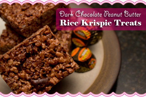 Dark Chocolate Peanut Butter Rice Krispie Treats