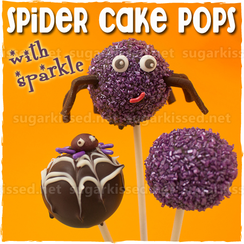 Spider Cake Pops with Sparkle