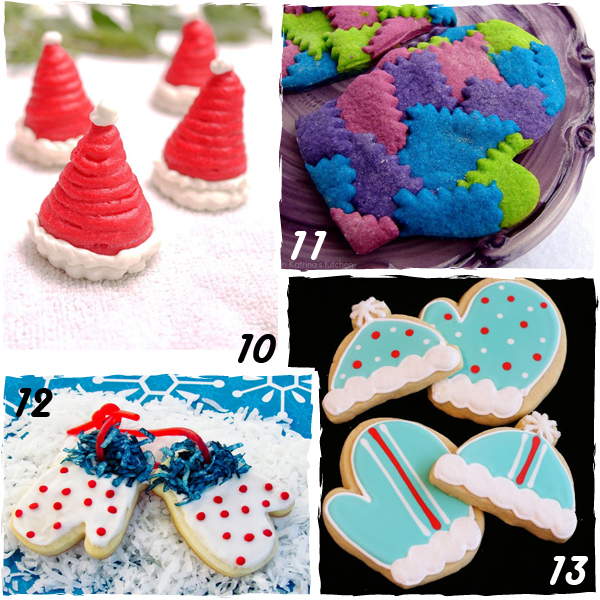 Hat and Mitten Decorated Christmas Cookies - sugarkissed.net