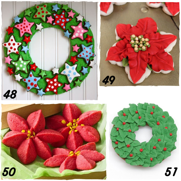 poinsettia and wreath decorated christmas cookies