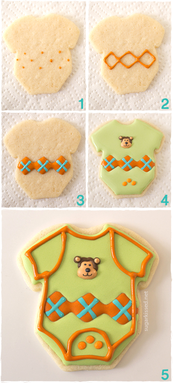 Onesie Baby Shower Cookies with Argyle Pattern | sugarkissed.net