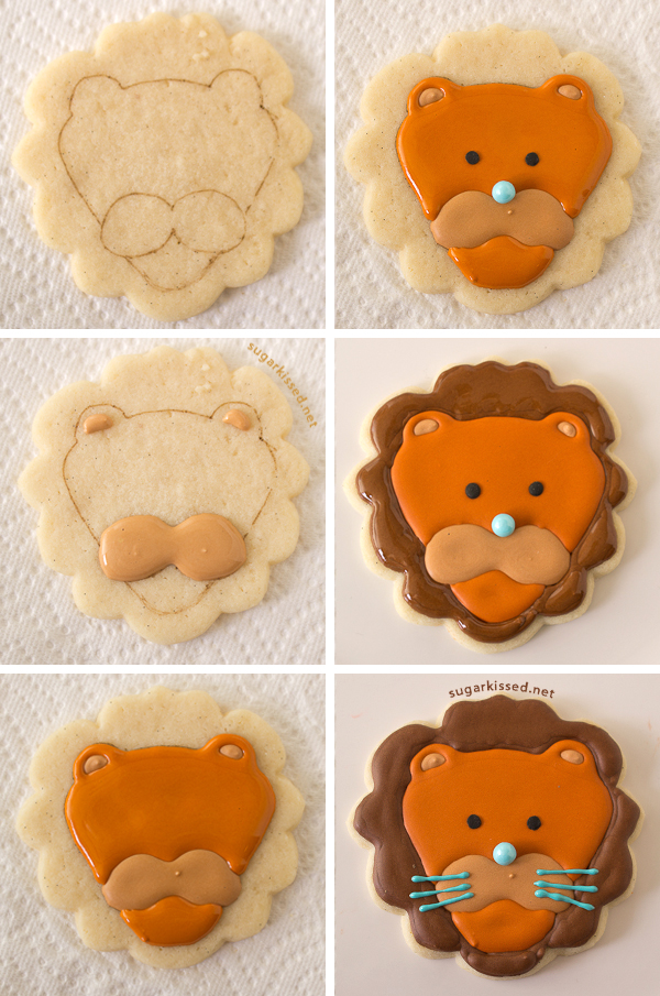 how to decorate lion cookies - How To Decorate Cookies