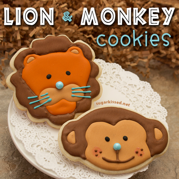 Lion and Monkey Cookies - sugarkissed.net