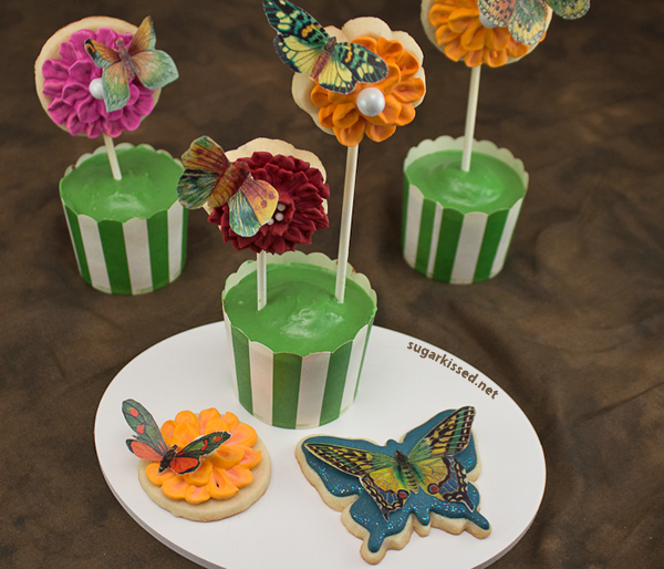 Dimensional Icing Flowers & Wafer Paper Butterfly Cookies