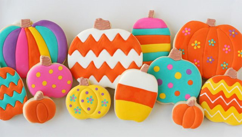 Colorful Halloween Pumpkin Cookies