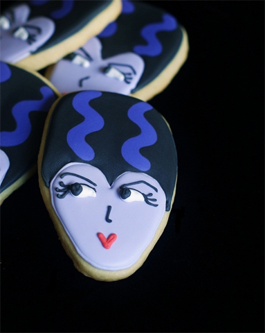 Halloween Bride of Frankenstein Cookies