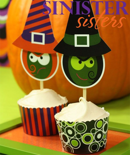 Free Halloween Printable - Witch Cupcake Toppers