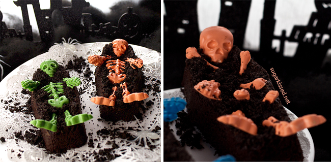 Colorful Skeleton Coffin Brownies for Halloween