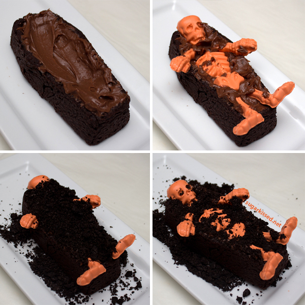 Colorful Skeletons in Coffin Brownies for Halloween